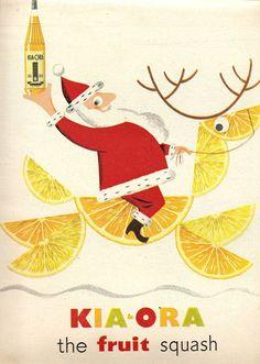 Mid Century Modern Santa. Kia-ora ad, 1954