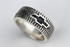 Car Tire Tread  Ring Wedding Band Ring by rockmyworldinc on Etsy, $275.00