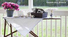 Use an antique ironing board as a decorative sideboard! www.cedarhillfarmhouse.com