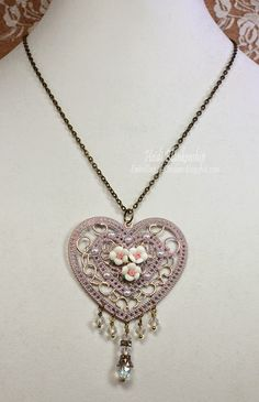 ButterBeeScraps Heart and Roses Necklace