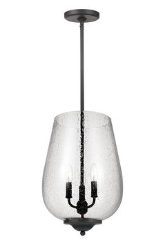 Morill 3- Light Hall/Foyer Chandelier by Sea Gull Lighting: Combines retro and industrial trends to make an impactful and traditional design statement. The warm, textured Blacksmith finish contrasts dramatically with the goblet-shaped, Clear Seeded glass shades which are especially dramatic, making the fixtures the perfect addition to any space. The rich Blacksmith finish adds another layer of retro design to the warm look. Perfect over your hallway or foyer.