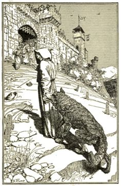 Francis lead the wolf to Gubbio. Illustration by H.J. Ford 1912