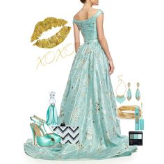 Trending ~ Aquamarine & Gold March 2015 featuring Christian V Siriano gowns, Giuseppe Zanotti pumps and Edie Parker clutches. Browse and shop related looks.