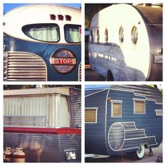 The vintage campers have such beautiful shapes and features. Vintage camper trailers Buelton rally