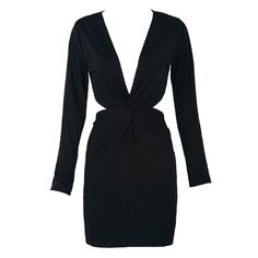 Black Twist Cut Out Long Sleeve Bodycon Dress ($18) ❤ liked on Polyvore featuring dresses, cutout dress, long sleeve black dress, long sleeve black cocktail dress, long sleeve body con dress and black body con dress