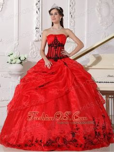Beautiful Red and Black Quinceanera Dress Strapless Floor-length Organza Appliques Ball Gown  http://www.fashionos.com  Gorgeous quinceanera gown with a strapless neckline and nice embroidery accenting the bodice.The symmetrical lines and pleated bust give this dress strong visual impact.The full skirt features bubble top and embroidered hem. A lace up back completes the look.