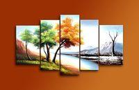 Pintura à mão 5293 5 peça pinturas a óleo da paisagem na parede lona de arte árvores 4 época quadros cuadros decoração para sala de estar