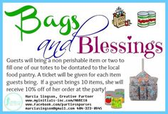Looking for a theme for your Initials Inc party? This one is great if you want to give back. Each guest brings a non-perishable food item to donate to the local food pantry. She will receive a ticket for each item she brings for a prize drawing. If she brings 10 or more, she will receive 10% off of her order that day. Ideas and art obtained from Kathy Bowen, Sr. Creative Partner