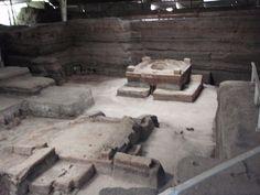 Remains of maya village of Joya de Ceren buried by volcano eruption around A.D. 600,salvador