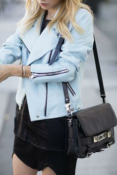 powder blue leather jacket.