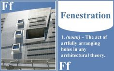 Fenestration doesn't apply just to windows; it's the disposition of the openings on the facade. I just blew your mind, didn't I?