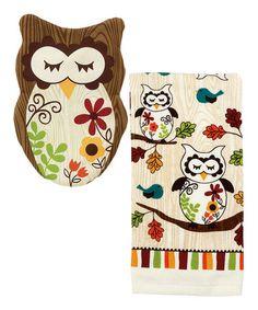 Another great find on #zulily! Sleepy Owl Pot Holder & Kitchen Towel Set by Ritz #zulilyfinds