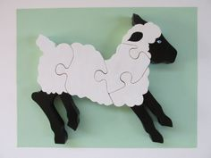 Hand Made Wood Lamb Puzzle Game Toy Childrens