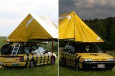 «Das Auto, auch Tigerente genannt, ist eigentlich ein Subaru Legacy 2.2 aus dem Jahre 1993 mit 150 PS . Dazugebaut wurde von mir das Dachzelt, in dem bequem vier Leute schlafen können, die Ersatzradhalterung und die Leiter um ins Zelt zu kommen. Dazu ist der Kofferraum komplett rausgerissen und zu einem Kleiderschrank umgewandelt worden.» gefunden auf - 20 Minuten Online Bildstrecke - So schleppen unsere Leser ab