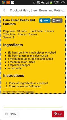 Crockpot Ham, Green beans and Potatoes Crock Pot Food, Crockpot Dishes, Crock Pot Slow Cooker, Pork Dishes, Slow Cooker Recipes, Crockpot Recipes, Sausage Crockpot, Ham And Green Beans, Green Beans And Potatoes