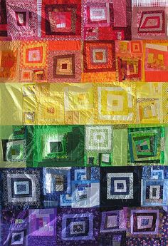 """I love the """"movement"""" this seems to have with the depth - rainbow quilt idea for scraps"""