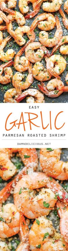 Garlic Parmesan Roasted Shrimp - The easiest roasted shrimp cocktail ever made with just 5 min prep. Yes, it's just that easy! #recipe