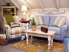 Cottage Style Furniture Coastal Upholstered Living Room