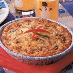 Warm-You-Up Sausage Quiche    Best quiche recipe I've found.  Sometimes I'll put it in a crust, sometimes I don't.  I generally don't go with the sausage and other mis-ins - just love it as a cheese quiche.