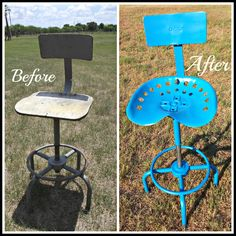 Repurposed tractor seat. Follow us for more wonderful pins at www.pinterest.com/3spurzdandc www.facebook.com/3SpurzDesignsAndCollectables www.3spurzdesignsandcollectables.com