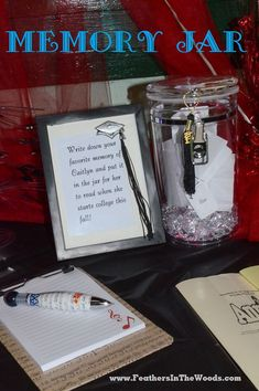 An acrylic jar with a cute notepad to write a memory to place inside for the graduation. Every decor detail matches so perfectly to get this graduation party dolled up.