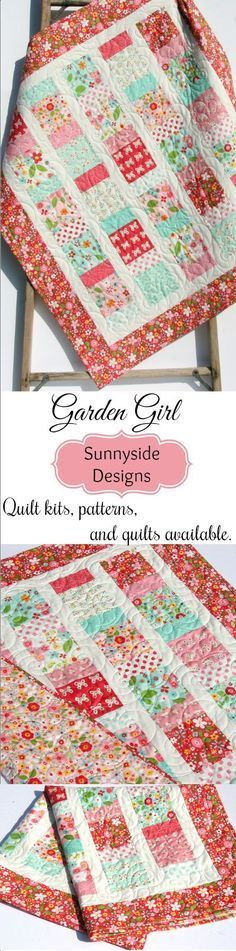 Garden Girl Quilt Kits, Baby Girl Handmade Baby Quilt, Girl Nursery Blanket, Riley Blake Fabrics, Butterflies Flowers, Charmingly Sashed Quilt Pattern by Sunnyside Designs #quilts #baby #nursery #babygifts #babyshower #babyshowergifts #quilting