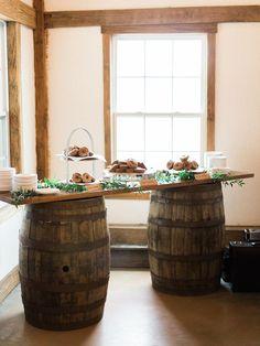rustic chic dessert display with donut bar Metallic Wedding Cakes, Painted Wedding Cake, Sunrise Wedding, Wedding Cake Display, Donut Bar, Lantern Centerpieces, Buttercream Wedding Cake, Bridal Cape, Geometric Wedding
