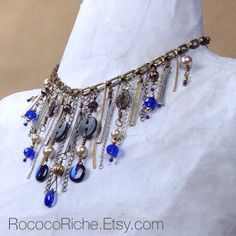 Button and Chain Statement Necklace / Glam Steampunk by RococoRiche, $48.00