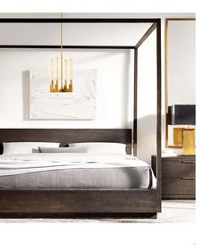 Sleek, beautiful bedroom with white walls, structured wooden canopy, gold chandelier and neutral bedding   Restoration Hardware