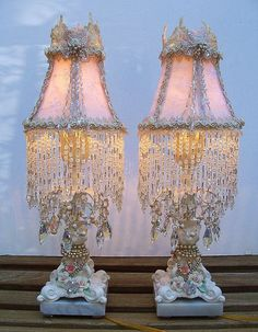 vintage chabby chic lamps, Could use the glass ceiling fan light globes that I already have, combine with the lace and a candlestick perhaps?