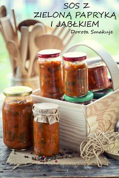 Sos z zieloną papryką i jabłkiem na zimę Chutney, Hummus, Canning Recipes, Hot Sauce Bottles, Preserves, Salsa, Food And Drink, Jar, Snacks