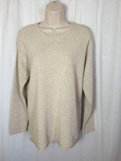 0340116 Lauren Ralph Lauren Beige Vneck Long Sleeve Linen Blend Women Sweater S #LaurenRalphLauren #VNeck