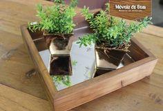 Bandeja espelhada feita de madeira de demolição - http://moveisdobem.com