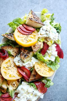 Heirloom Tomato, Zucchini and Plum Salad with Burrata