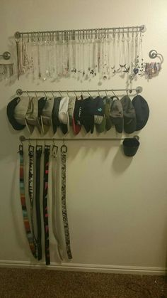 Great idea for boys' hats and belts in their closet.