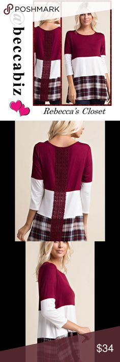 """Darling color block top lace trim See @ginga69 for photo of the top being modeled and check out her beautiful closet!   This is a Burgundy/ivory round neck, 3/4 sleeve top with color block and contrast detailing, and lace trim down center back. This stylish, easy to pullover top was made with a rayon spandex fabric and polyester woven contrast. Length: S 27"""", M 28"""", L 28"""".  Made in USA. Price is firm unless bundled. No trades. Boutique Tops Tunics"""