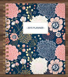 7 x 9 spiral bound with horizontal format, 2015 planner custom planner student planner by SHPplanners on Etsy