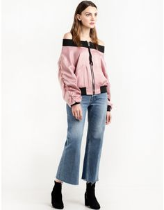 Pink Satin Off The Shoulder Bomber Jacket