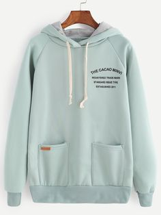 SheIn offers Pale Green Letter Print Raglan Sleeve Drawstring Hooded Sweatshirt & more to fit your fashionable needs. Hoodie Sweatshirts, Pullover Hoodie, Sweatshirts Online, Sweater Hoodie, Trendy Hoodies, Cool Hoodies, Hoodie Outfit, Raglan, Ideias Fashion