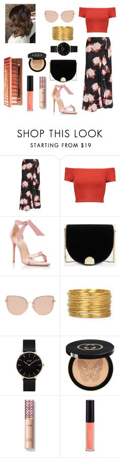 """""""Untitled #89"""" by mihaelamihu ❤ liked on Polyvore featuring Ganni, Alice + Olivia, Alexandre Birman, Ted Baker, Topshop, CLUSE and Gucci"""