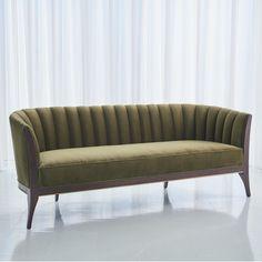 Channel Back Sofa-Moss