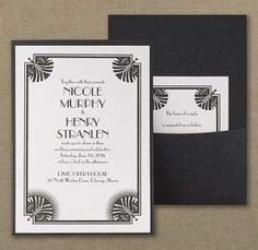 Deco Divine - Invitation - Framed with some showy art deco, this white shimmer invitation and pocket exhibit serious glam. Black And White Wedding Invitations, Affordable Wedding Invitations, Pocket Wedding Invitations, Beautiful Wedding Invitations, Pocket Invitation, Art Deco Invitations, Art Deco Wedding, Gatsby Wedding, Wedding Insurance