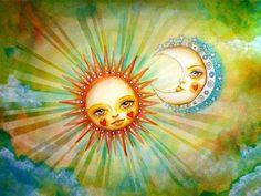 whimsical art of sun and moon //moonglow Sun Moon Stars, Sun And Stars, Pierrot, Sun Art, Illustrations, Moon Child, Whimsical Art, Art Google, Fantasy Art