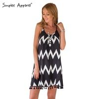 Simplee Apparel hot sale women summer dress 2015 Backless tassel striped party dresses vestidos loose beach mini dress