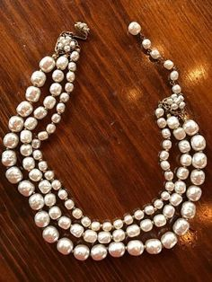 Miriam Haskell Three Strand Faux Pearl Necklace 1950's