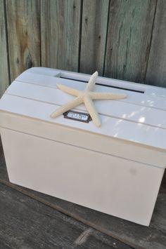 Personalized Beach Wedding Card Box, Seashell Trunk, Beach Wedding or Anniversary Gift Personalized for Beach decor on Etsy, $79.00