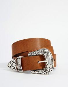 Cinturón estilo western para cintura y cadera con punta metálica de ASOS