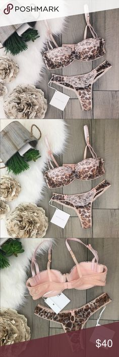 M I M I  HOLLIDAY • Wild Thing Lingerie Set 2 piece balconette lingerie set by M I M I Holliday • Flirty sexy animal print with delicate lace and fabric • Beautiful for Valentine's Day  ➵ Superficial snag on right cup and panty front, can be seen in photos, but not when worn ➵ Bra (36B), thong panty (small) ➵ Wood flooring pieces for photo purposes only: not installed flooring  **Cover photo edited with filter applied • refer to photos within listing for truest color Mimi Holliday Intimates…