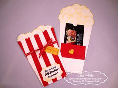 Popcorn Gift Card holder - punch art - stampin up