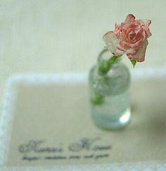 Lovely Miniature Rose in Glass vase in 1/12 scale by nunu's house